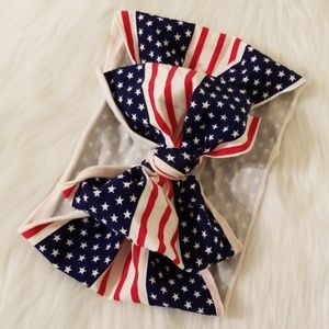 Accessories - NEW American Flag Print Baby Bow Headwrap